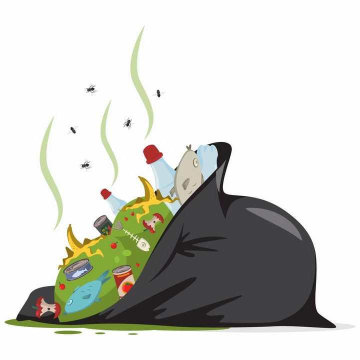 肮脏的垃圾袋漫天飞舞的苍蝇乱扔垃圾png图片免抠矢量素材