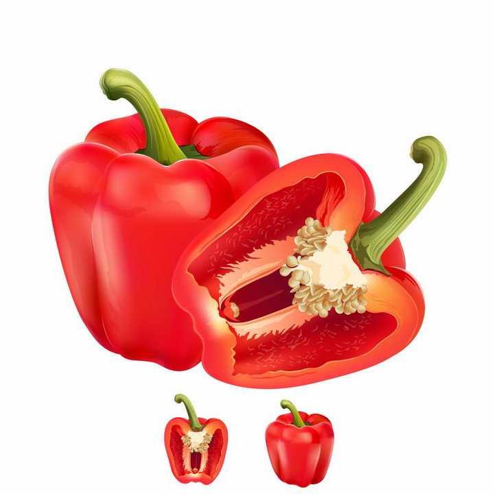 切开的红色灯笼椒菜椒辣椒美味蔬菜横切面png图片免抠矢量素材