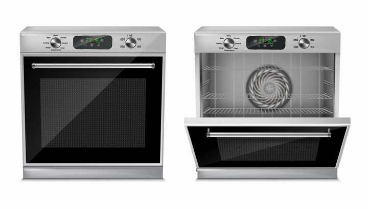 关闭和打开的紧凑型烤箱厨房家用电器png图片免抠矢量素材