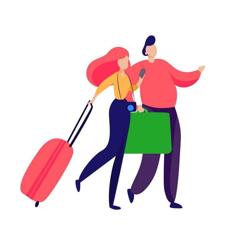 扁平插画风格拖着行李箱和购物袋的情侣png图片免抠矢量素材