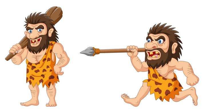扛着木棒和石矛的卡通原始人png图片免抠矢量素材