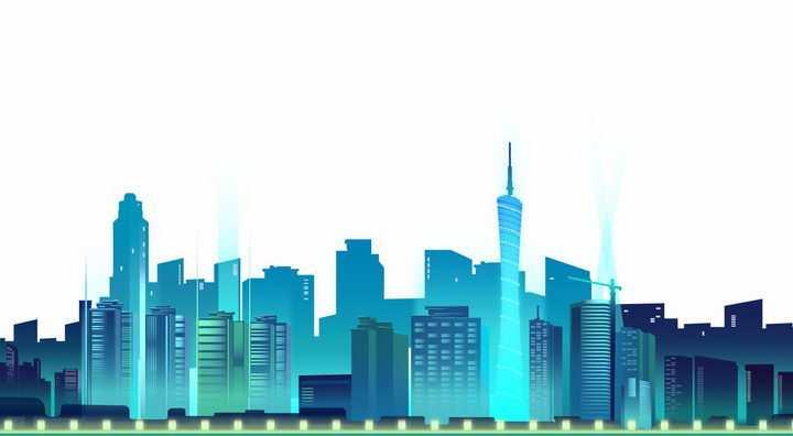 蓝色发光效果的城市建筑天际线图片免抠AI矢量素材