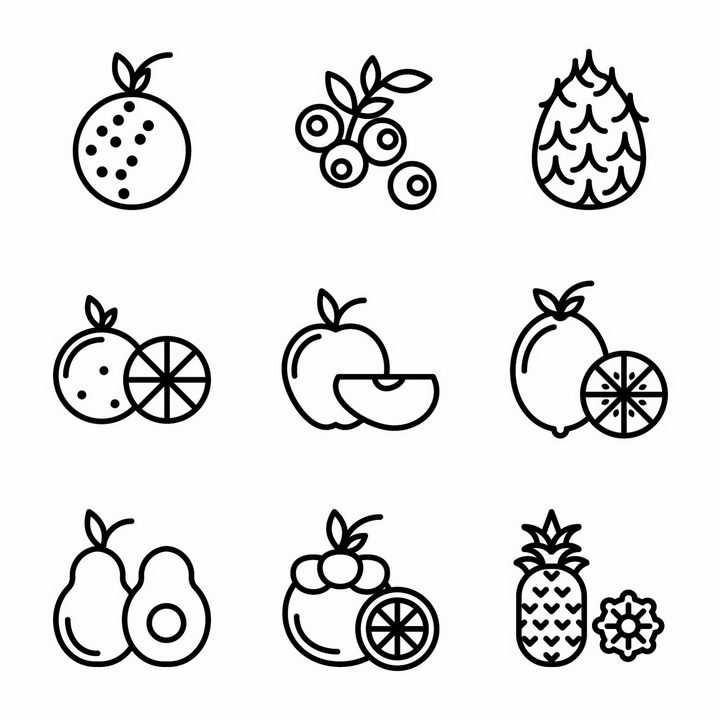 9款黑色线条风格的柚子菠萝橙子苹果柠檬山竹等美味水果图标png图片免抠EPS矢量素材