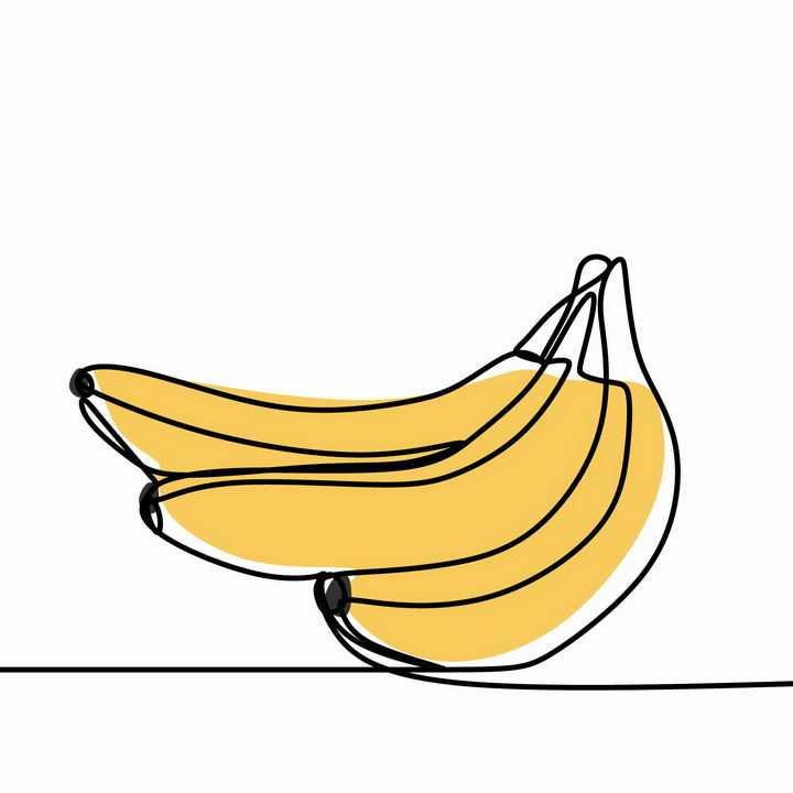 简约线条上色风格香蕉美味水果png图片免抠EPS矢量素材