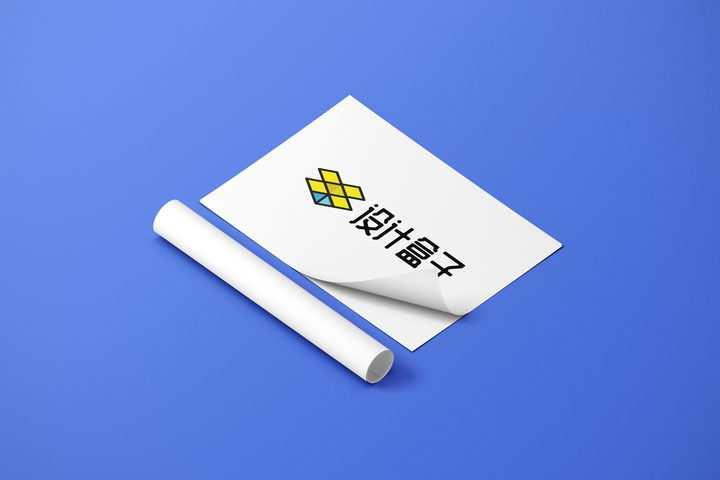 卷纸和掀开一角的A4纸白纸展示样机图片设计模板素材
