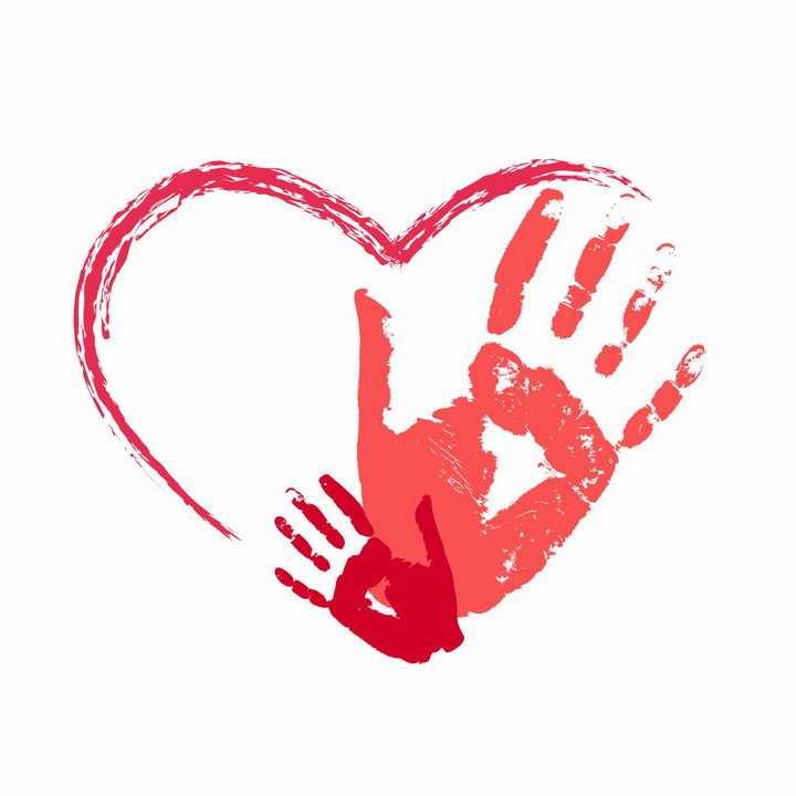红色大手小手手掌印和心形涂鸦图案亲子png图片免抠eps矢量素材