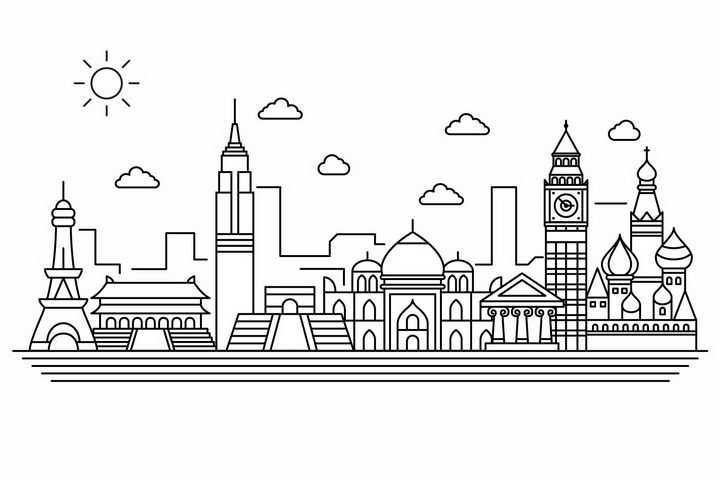 线条太阳城市建筑世界知名建筑城市天际线png图片免抠矢量素材