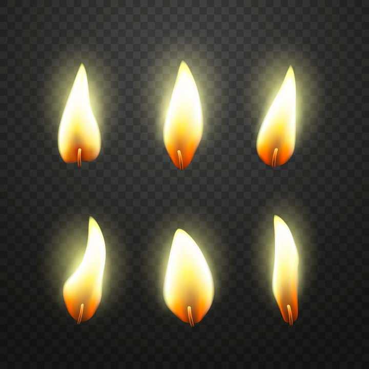6款正在燃烧的蜡烛火柴火苗png图片免抠矢量素材