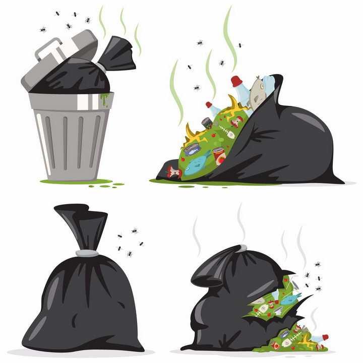 肮脏的垃圾袋垃圾桶分类垃圾png图片免抠矢量素材