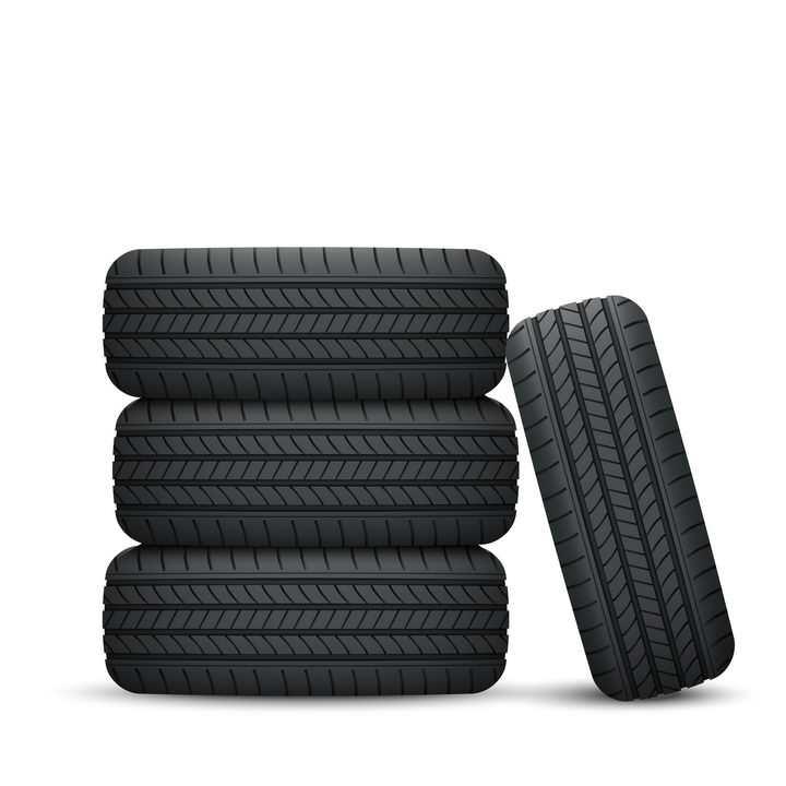 三个叠加堆放的轮胎和旁边斜靠的汽车轮胎png图片免抠矢量素材