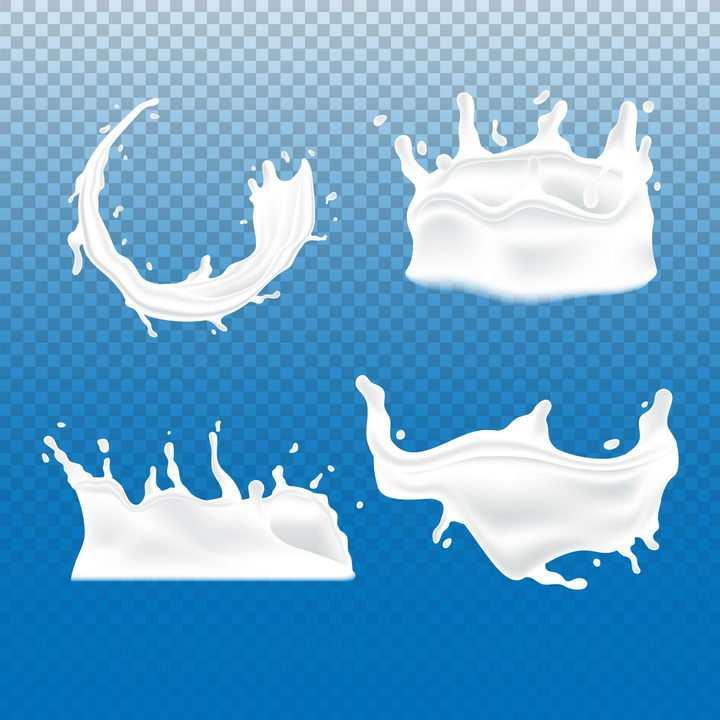 4款乳白色液体牛奶飞舞滴落效果png图片免抠矢量素材