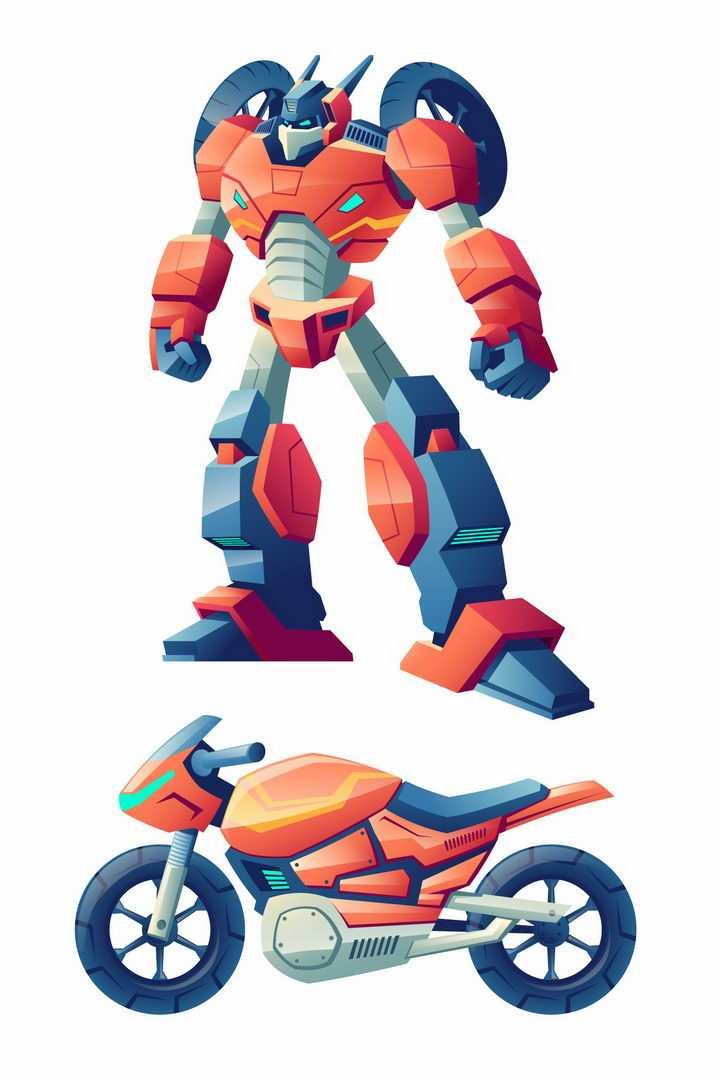 卡通漫画风格可以变形为摩托车的变形金刚机器人图片png免抠素材