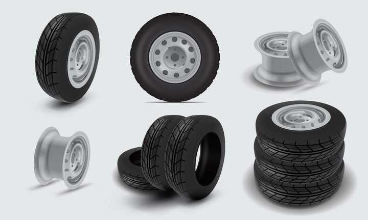 各种汽车轮胎和铝合金轮毂png图片免抠矢量素材