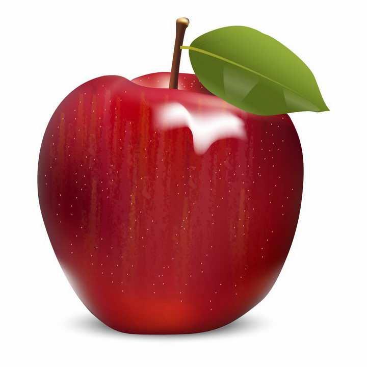 带叶子的红苹果美味水果png图片免抠ai矢量素材
