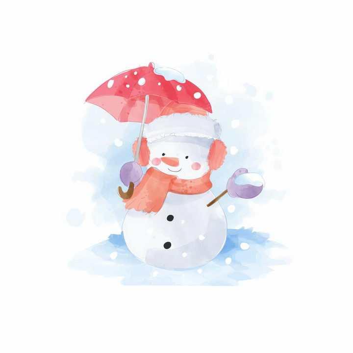 打着红色雨伞的卡通雪人png图片免抠eps矢量素材