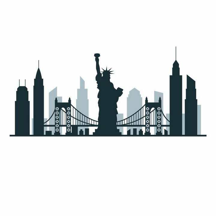 自由女神像帝国大厦等纽约知名建筑城市天际线剪影png图片免抠矢量素材
