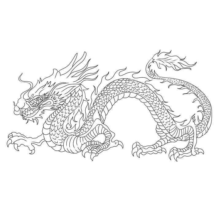 黑色线条中国传统风格的龙png图片免抠素材