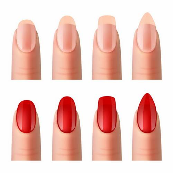 4款指甲和指甲油效果对比图png图片免抠矢量素材