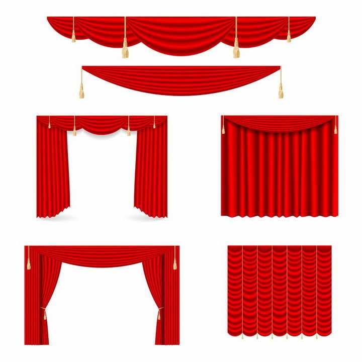 各种晚会大会堂会议红色帷幕装饰png图片免抠矢量素材