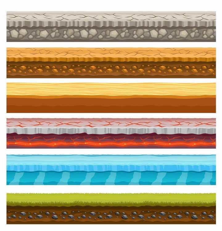 6款干裂的土层火山岩冰山草地等土壤分层png图片免抠矢量素材