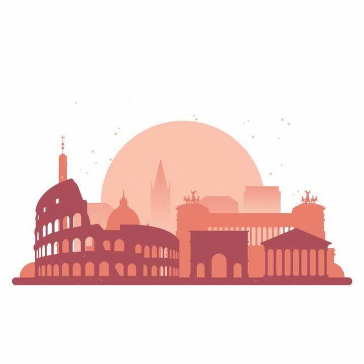 红色罗马世界知名建筑城市天际线剪影png图片免抠矢量素材
