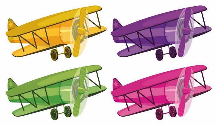 4种颜色的卡通双翼飞机螺旋桨飞机png图片免抠矢量素材