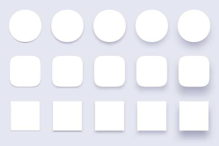 各种不同浓度阴影的圆形圆角和方形按钮png图片免抠eps矢量素材