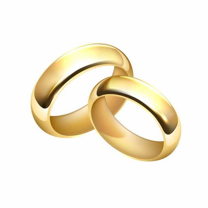 两只光滑的结婚黄金戒指png图片免抠矢量素材