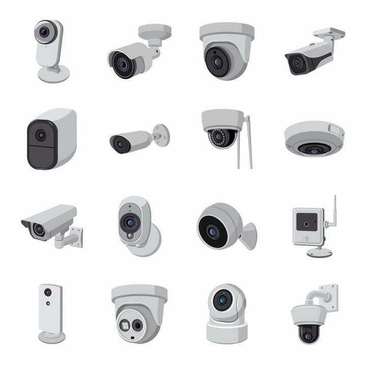 16款银灰色的视频摄像头安防监控摄像头png图片免抠eps矢量素材