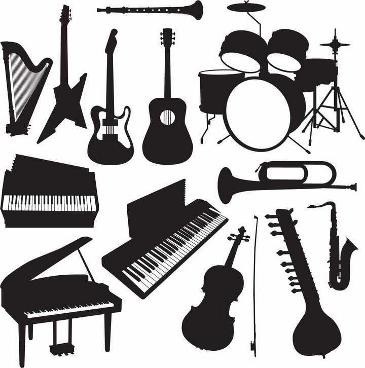 竖琴吉他架子鼓钢琴等西洋乐器音乐剪影png图片免抠矢量素材