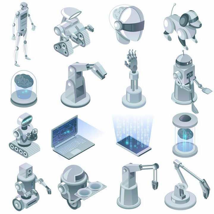 16款2.5D风格机器人机器狗机械手臂笔记本电脑等png图片免抠eps矢量素材