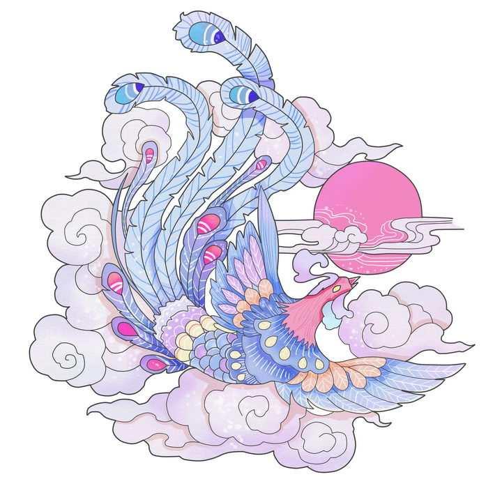 中国传统画风格粉色太阳祥云和凤凰png图片免抠素材