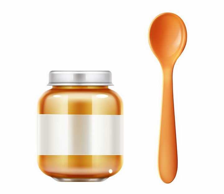 罐头食品和勺子png图片免抠矢量素材