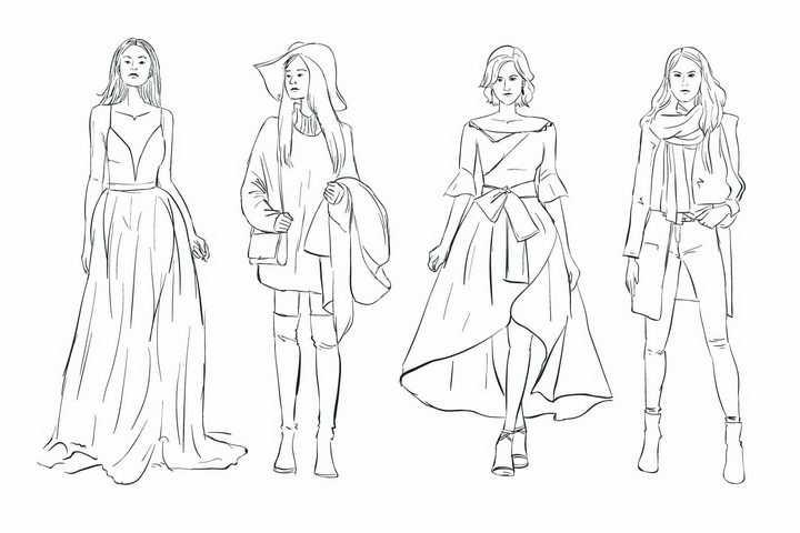 4款手绘素描风格时尚女郎女模特png图片免抠矢量素材