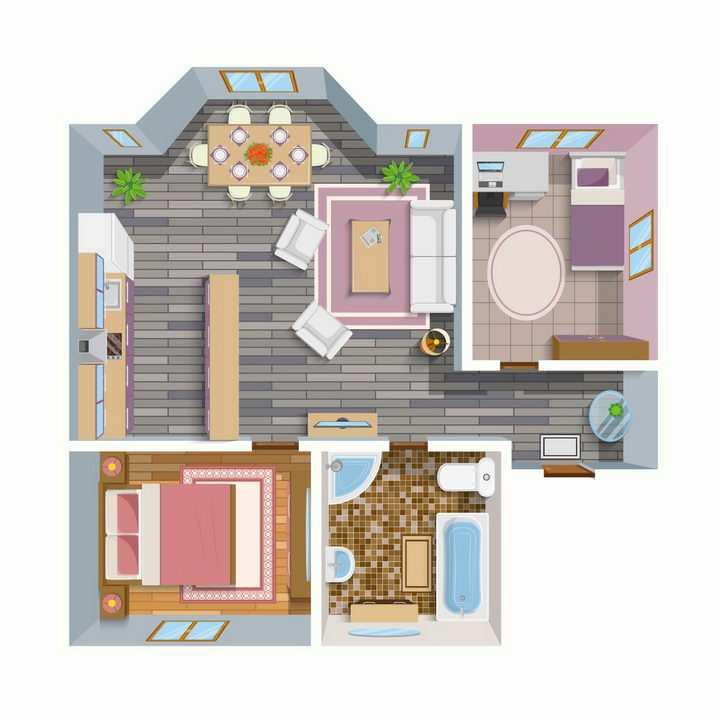 俯视视角的两室一厅一厨一卫室内装修效果平面家具彩图png图片免抠矢量素材