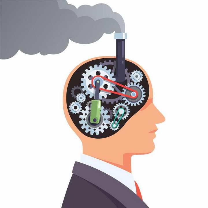 蒸汽朋克风格的人体机械大脑png图片免抠矢量素材