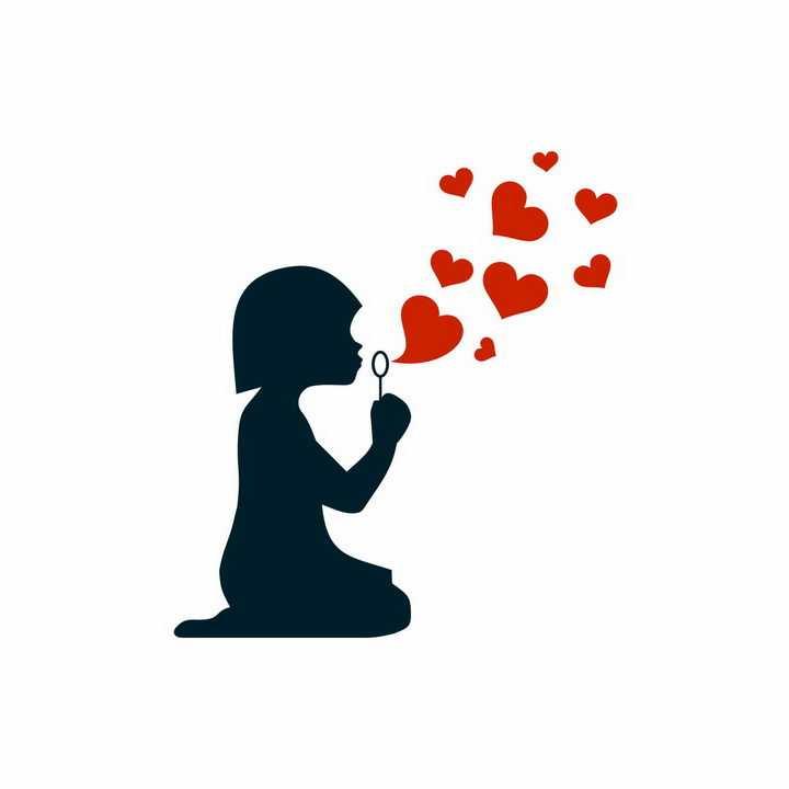 跪坐在地上的小女孩剪影吹泡泡吹出红色心形图案png图片免抠矢量素材