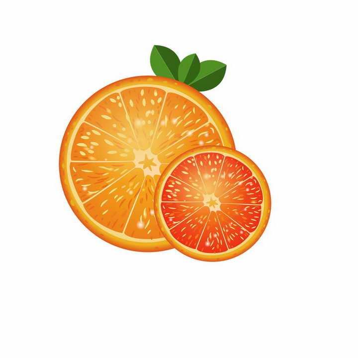 切开的橙子橘子美味水果横切面png图片免抠ai矢量素材