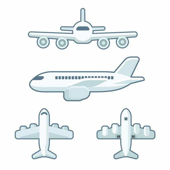 4种不同角度的灰白色卡通飞机客机png图片免抠矢量素材