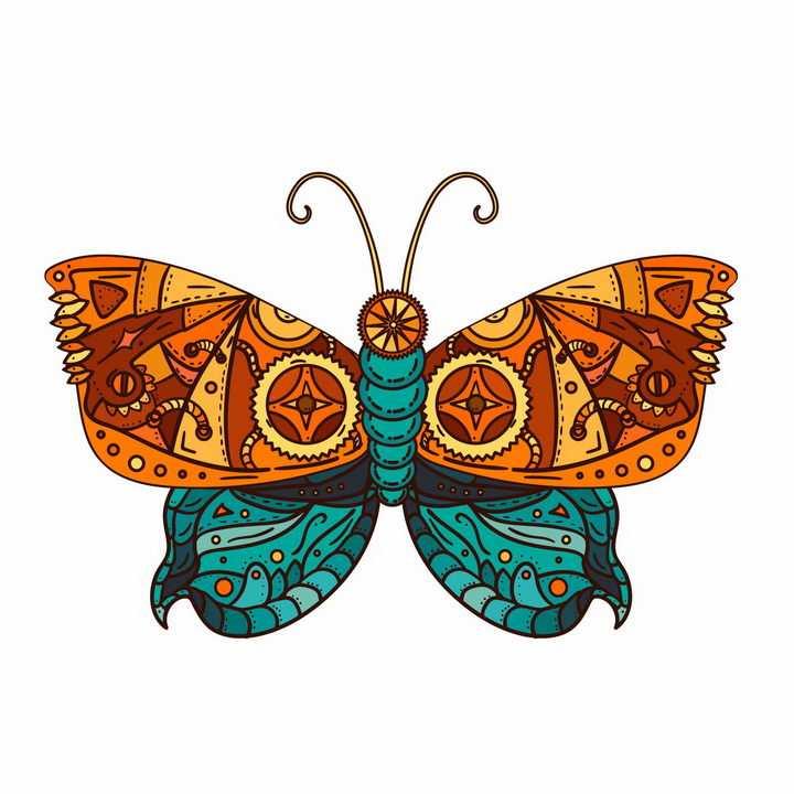 蒸汽朋克风格的齿轮机械组成的蝴蝶png图片免抠矢量素材