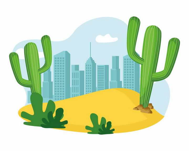 沙漠中的仙人棒仙人掌和远处的城市天际线png图片免抠矢量素材
