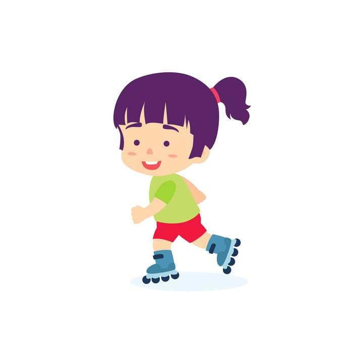 玩轮滑的卡通小女孩png图片免抠矢量素材