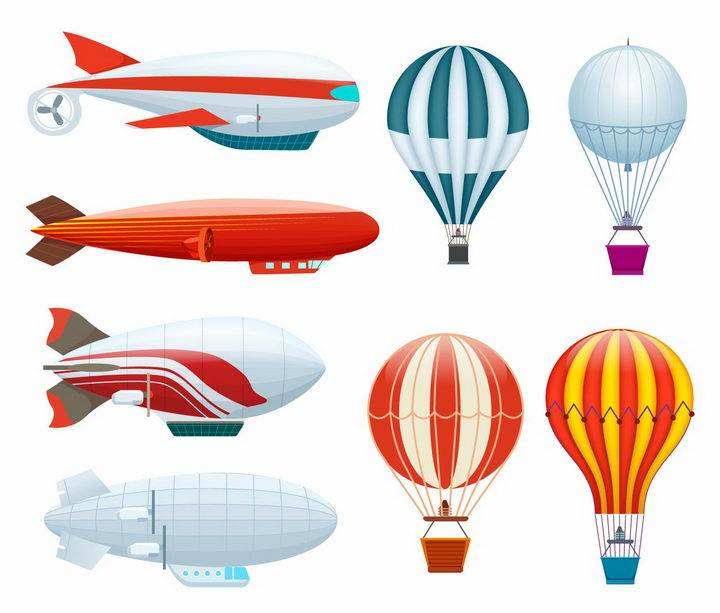 4款热气球和4款飞艇图片png免抠素材