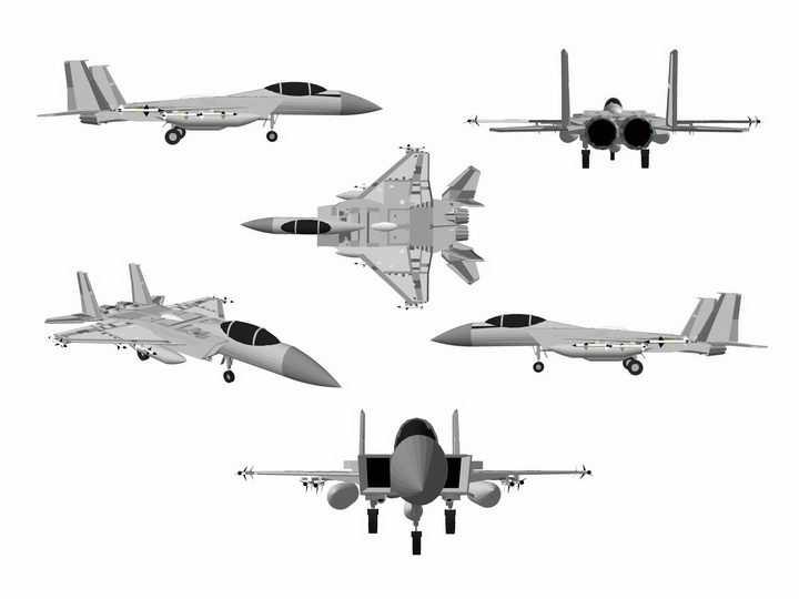 6款不同角度的F15战斗机飞机png图片免抠矢量素材