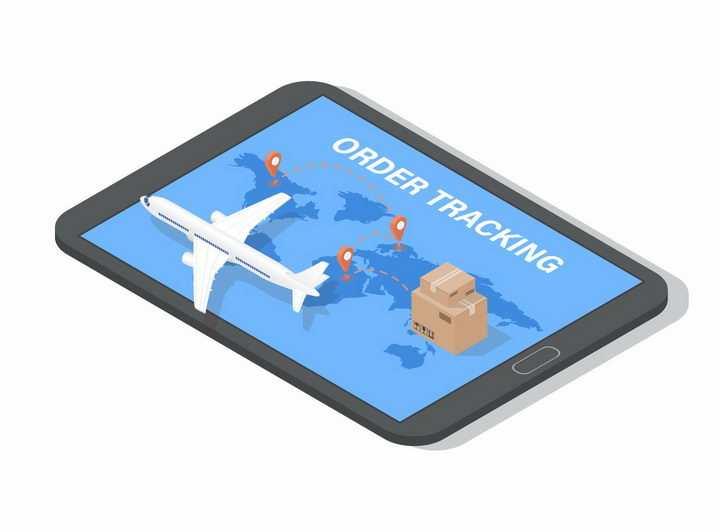 平板电脑上的货运飞机快递物流png图片免抠eps矢量素材