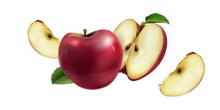 切开的红苹果美味水果横切面png图片免抠矢量素材