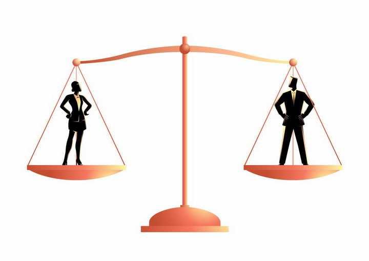 抽象站在天平的男人和女人男女平等png图片免抠矢量素材