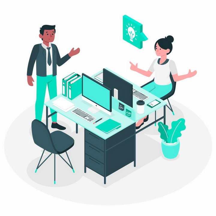 绿色扁平插画风格办公室里在电脑桌前讨论问题的同事png图片免抠矢量素材