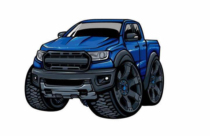 卡通漫画风格深蓝色大脚车越野车png图片免抠矢量素材