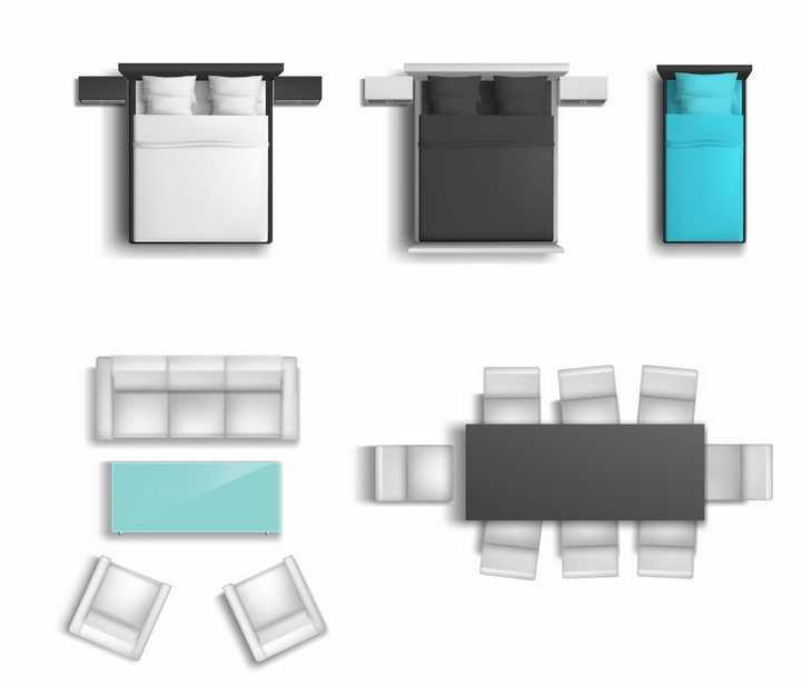 俯视视角的三种颜色的床和沙发茶几以及餐桌等家具平面图png图片免抠矢量素材